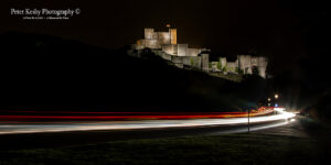 Dover Castle With Light Trails From Castle Hill
