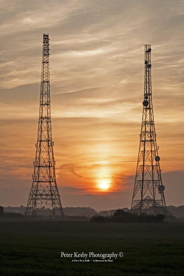 RAF Swingate Radar Pylons - Sunset