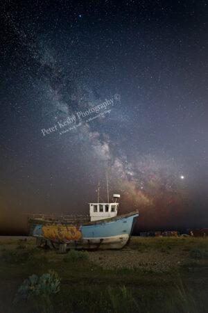 Milky Way Over A Fishing Boat - Graffiti
